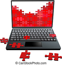 réparation, puzzle, puzzle, problèmes, morceaux, informatique