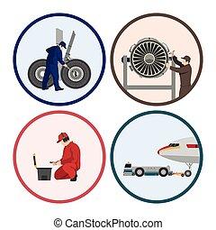 réparation, réparation, ensemble, aircraft., avion., figures, entretien, images, cercle, ingénieurs