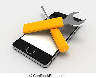 réparation, rendu, illustration, téléphone, fond, blanc, 3d