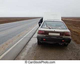 réparation, road., voiture