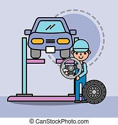 réparation, roue, service, voiture, employé, direction