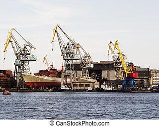 réparation, sec, grand, dock, chantier naval, sous, bateau, flotter