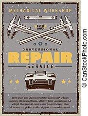 réparation, service, affiche, mécanicien, voiture, boîte outils