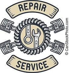 réparation, service, emblem.