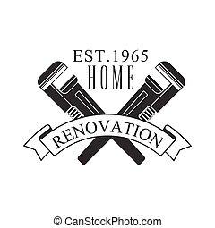 réparation, service, texte, signe, noir, gabarit, maison, conception, blanc, clés, traversé, rénovation