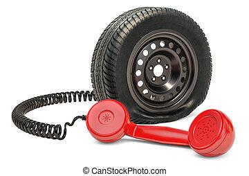 réparation, service, voiture, concept., rendre, station, auto, 3d