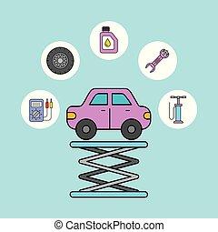 réparation, service, voiture, soutien, équipement, entretien