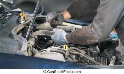 réparation, service, voiture, station, mécanicien, homme