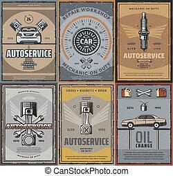 réparation, service, voiture, vecteur, retro, affiches