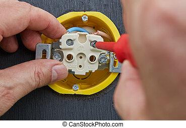 réparation, socket., électricien, tournevis, quoique, électrique, mains