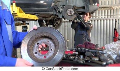 réparation, station, workshop., travail, 4k, mécanicien, service, voiture