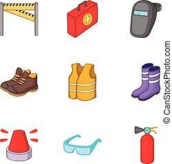 réparation, style, icônes, ensemble, équipement, dessin animé, route