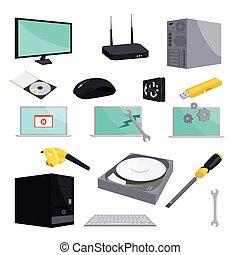 réparation, style, icônes, ensemble, informatique, dessin animé