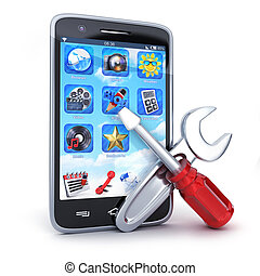 réparation, symbole, fond blanc, téléphone