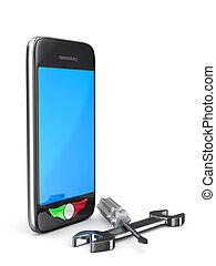 réparation, téléphone, image, isolé, arrière-plan., blanc, 3d