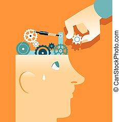 réparation, tête, mécanisme