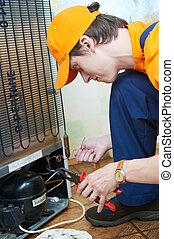 réparation, travail, appareil, frigidaire