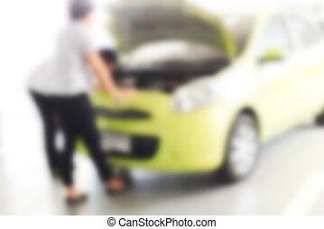 réparation, usage, photo, ouvrier, arrière plan flou, mécanique, :, voiture