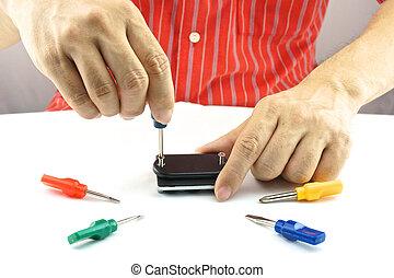 réparation, usage, tournevis, coloré, homme