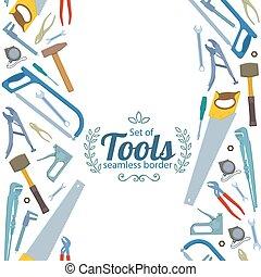 réparation, vertical, icônes, seamless, frontières, outils