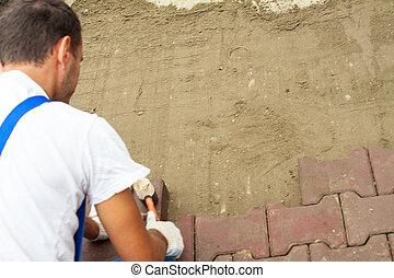 réparation, ville, carrée, pose, pavage, trottoir, dalles