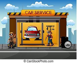 réparation, voiture, équipage, atelier, mécanicien, dessin animé