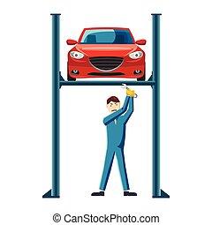 réparation, voiture, ascenseur, mécanicien, icône