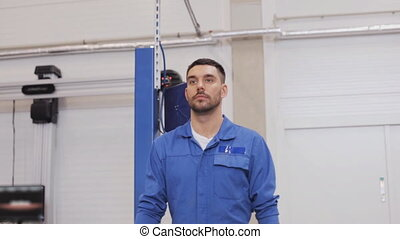 réparation, voiture, atelier, clé, mécanicien, homme