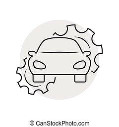 réparation voiture, contour, icône