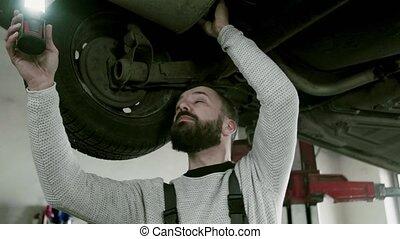 réparation, voiture, garage., mécanicien, homme