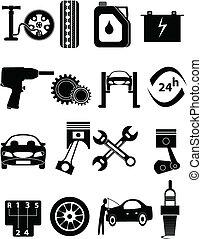 réparation voiture, icônes