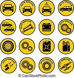 réparation voiture, service, icône
