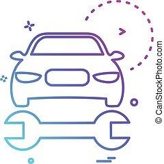 réparation, voiture, vecteur, conception, clé, icône