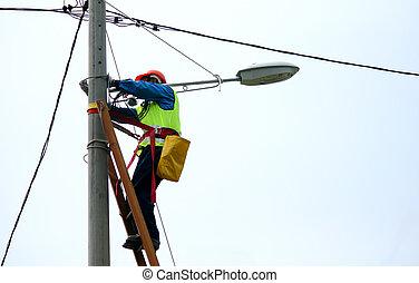 réparation, wireman, rue, électrique, lumière