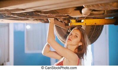 réparations, angle, mécanicien voiture, sexy, girl, spanner., côté