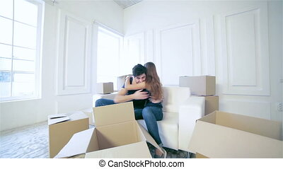 réparations, appartement, en mouvement, nouvelle maison