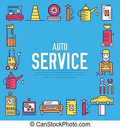 réparations, atelier, mécanicien, service, icônes, texte, concept., garage., auto, plat, voiture, station, mince, fond, véhicule, ouvrier, ligne, outils, design.