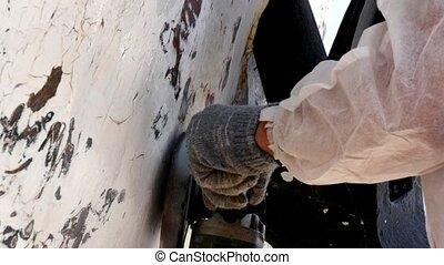 réparations, fermé, peinture, processus, shipyard., ouvriers...