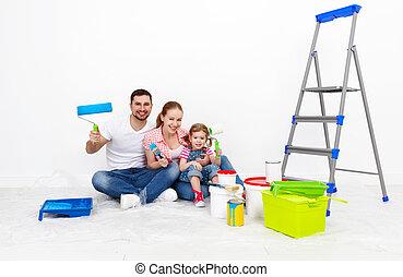 réparations, fille, famille, mur, père, peinture, mère, bébé, heureux