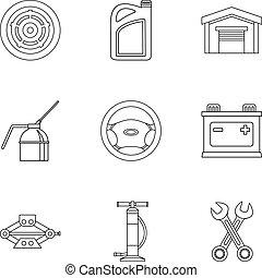 réparations, style, contour, icônes, ensemble, voiture