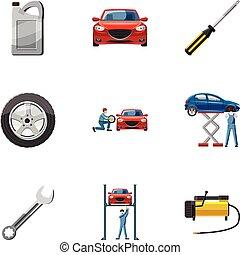 réparations, style, icônes, ensemble, voiture, dessin animé