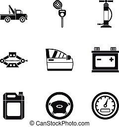 réparations, style, icônes, ensemble, voiture, simple