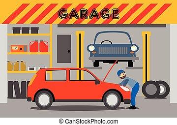 réparations, voiture, jeune, mécanicien garage, rouges