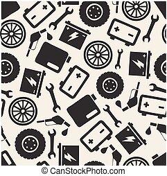 réparations, voiture, symbole, seamless, modèle fond, monochrome