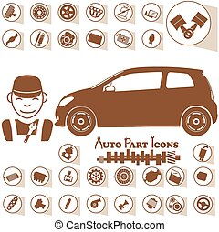 réparer garage, voiture, icônes