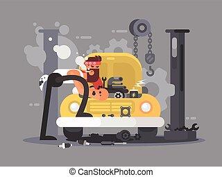 réparer homme, voiture