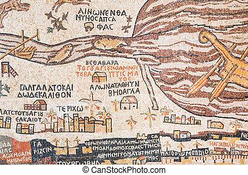 réplica, antigüedad, tierra, santo, madaba, mapa