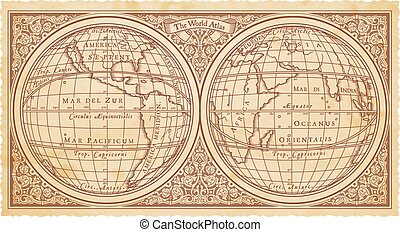 réplica, vector, viejo, mapa