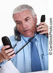 répondre, ouvrier, collier, téléphones, blanc, accablé
