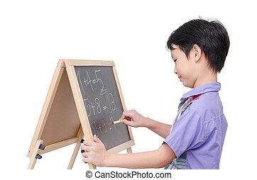 réponse, garçon, tableau, math, écriture